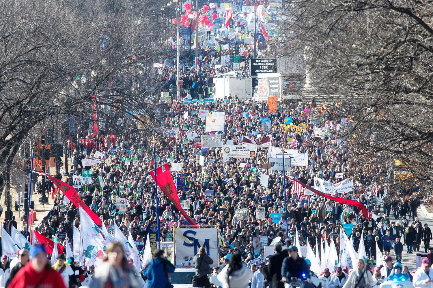 Constitution Avenue is filled with pro-life supporters headed toward the U.S. Supreme Court during the 45th annual March for Life in Washington D.C., Jan. 19.