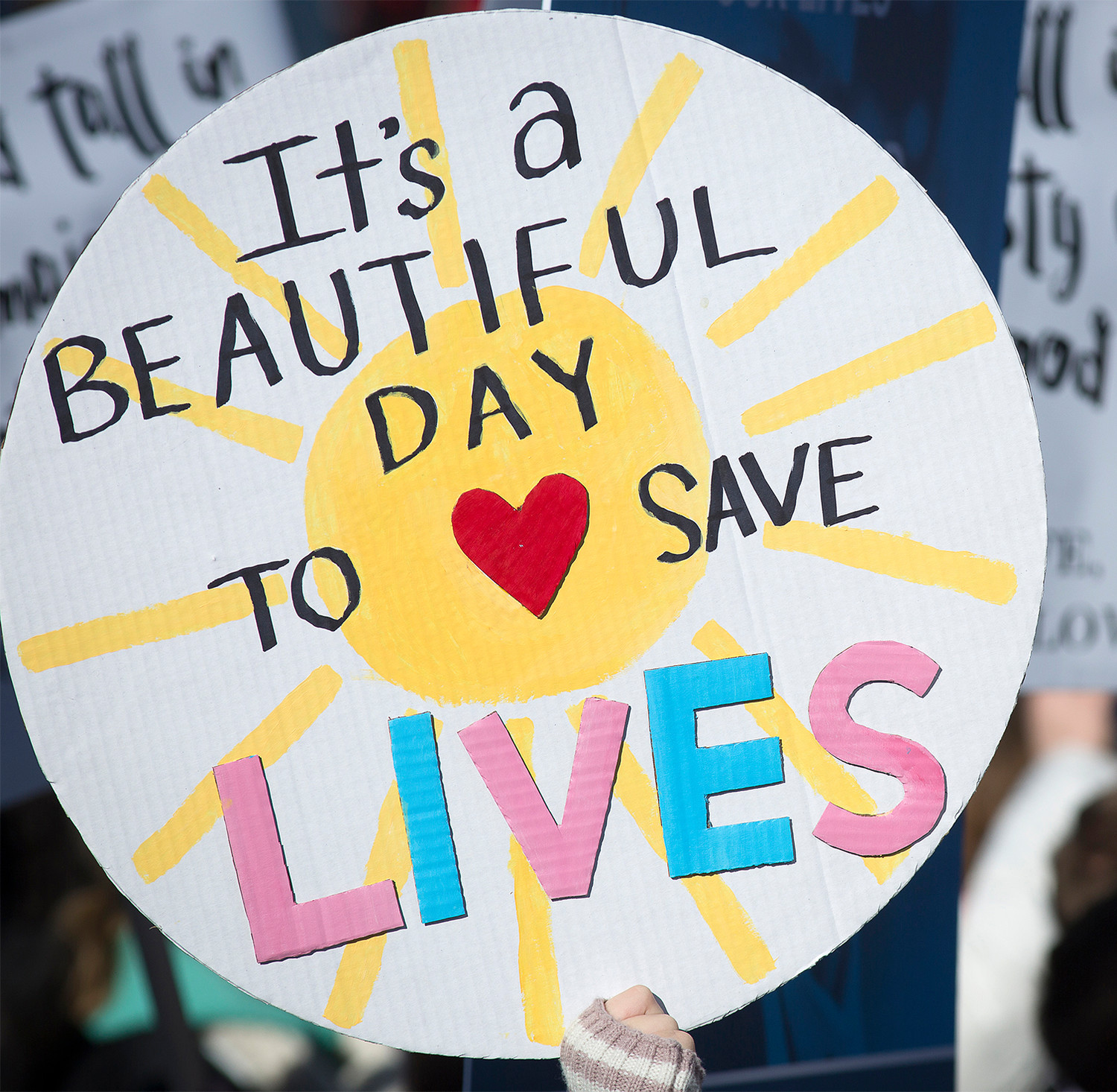 A pro-life sign is displayed during the annual March for Life rally on the National Mall.