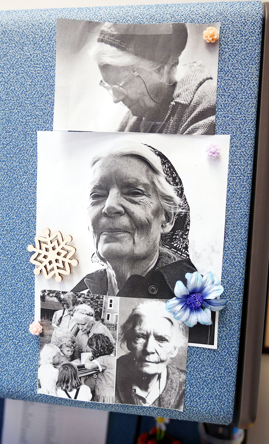 Images of Dorothy Day form an informal display in the Tribunal office.