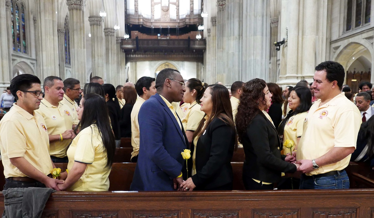 More than 400 Hispanic couples renewed their marriage vows at the Spanish-language World Marriage Day Mass at St. Patrick's Cathedral Feb. 11. The second annual Mass was sponsored by Movimiento Matrimonial Catolico (Catholic Marriage Movement) and the archdiocesan Office of Hispanic Ministry.