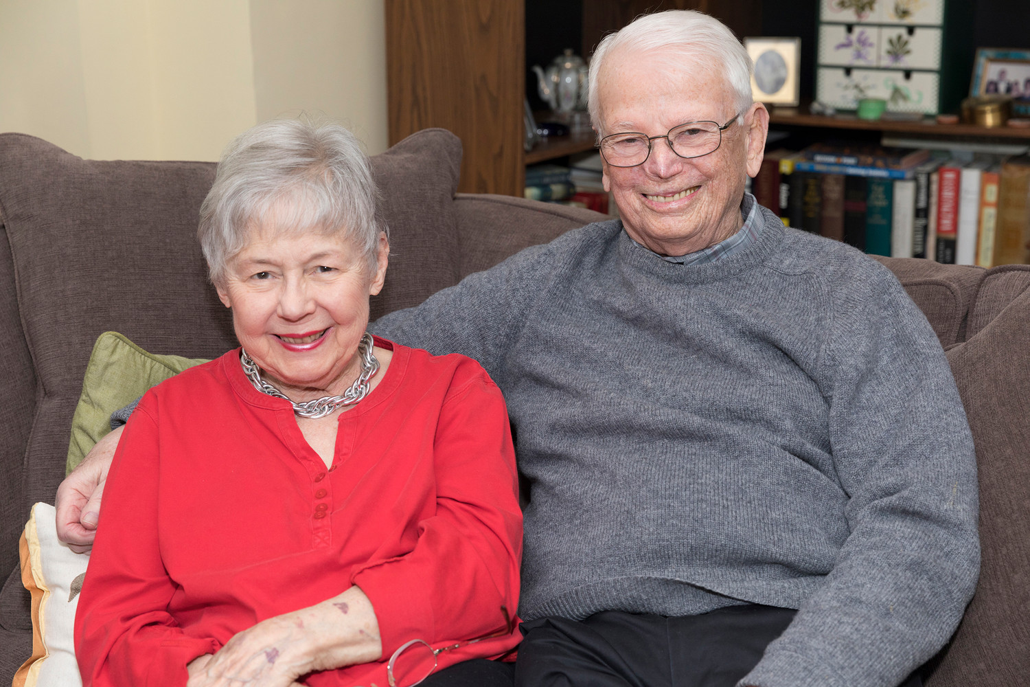 Bess June and John Lane, who will celebrate their 60th wedding anniversary Feb. 15, pose at their home in Rye this month.