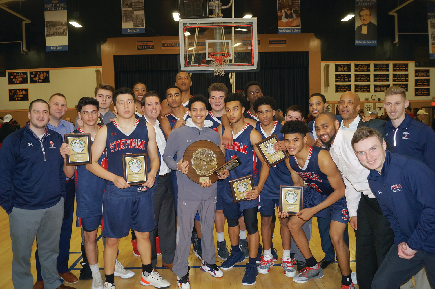 The Archbishop Stepinac High School boys' basketball team won the program's first archdiocesan title since 1984 with a 78-62 victory over Cardinal Hayes at Mount St. Michael High School in the Bronx Feb. 24.