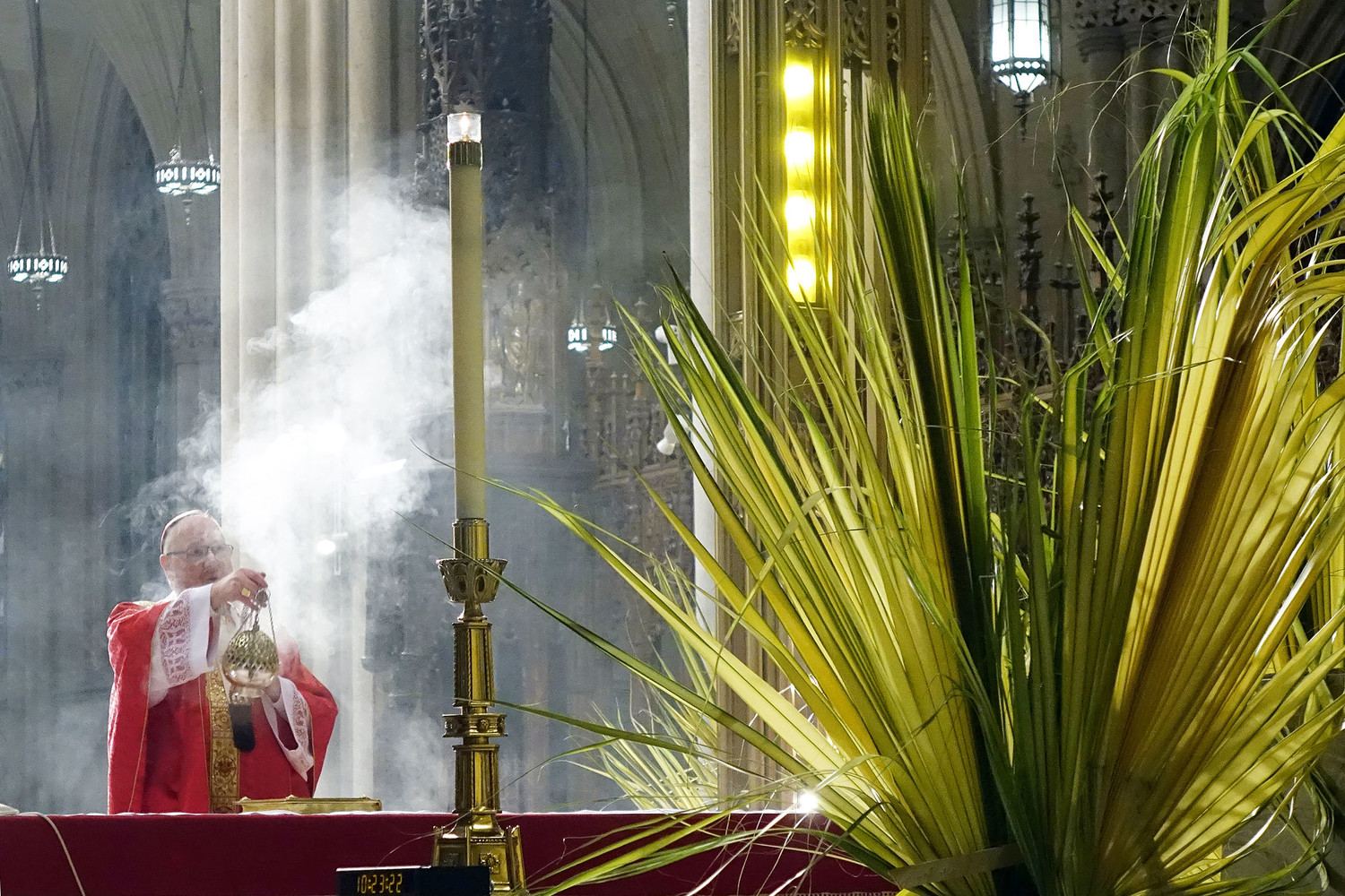 Cardinal Dolan serves as principal celebrant at the 10:15 a.m. Mass at St. Patrick's Cathedral on March 25, Palm Sunday of the Passion of the Lord. The view was captured from behind the altar.