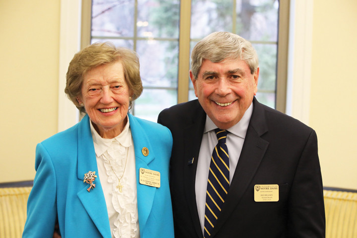 CAMPUS SALUTE—Sister Katherine Seibert, S.C., and Joe Delaney were both honored by the University of Notre Dame Alumni Association last week.