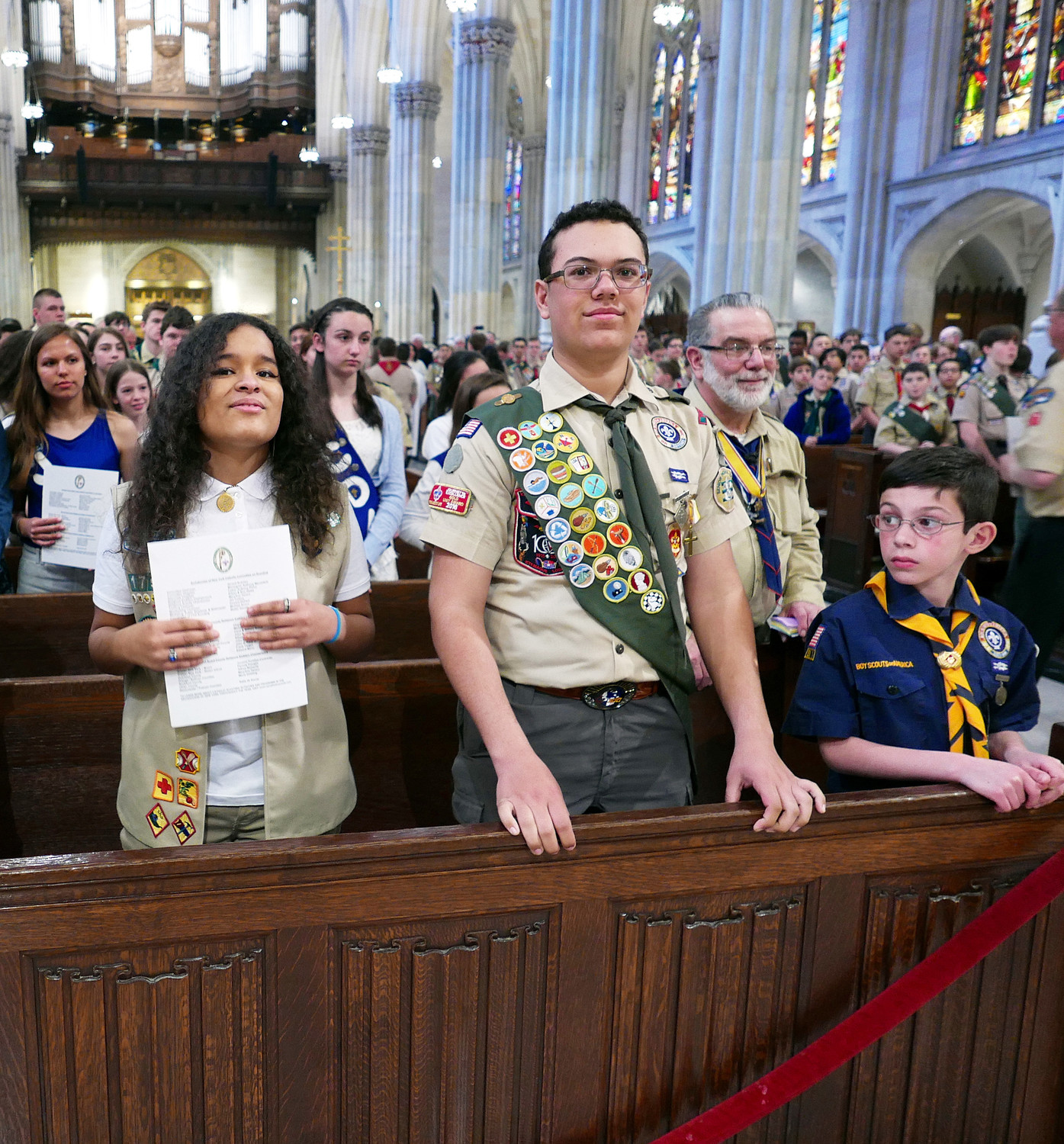 Scouts fill the pews of St. Patrick's Cathedral for the archdiocesan Emblem Sunday Scouting Mass celebrated by Cardinal Dolan April 22. Honors were given to 158 scouts at the afternoon liturgy, which was attended by 900 people.