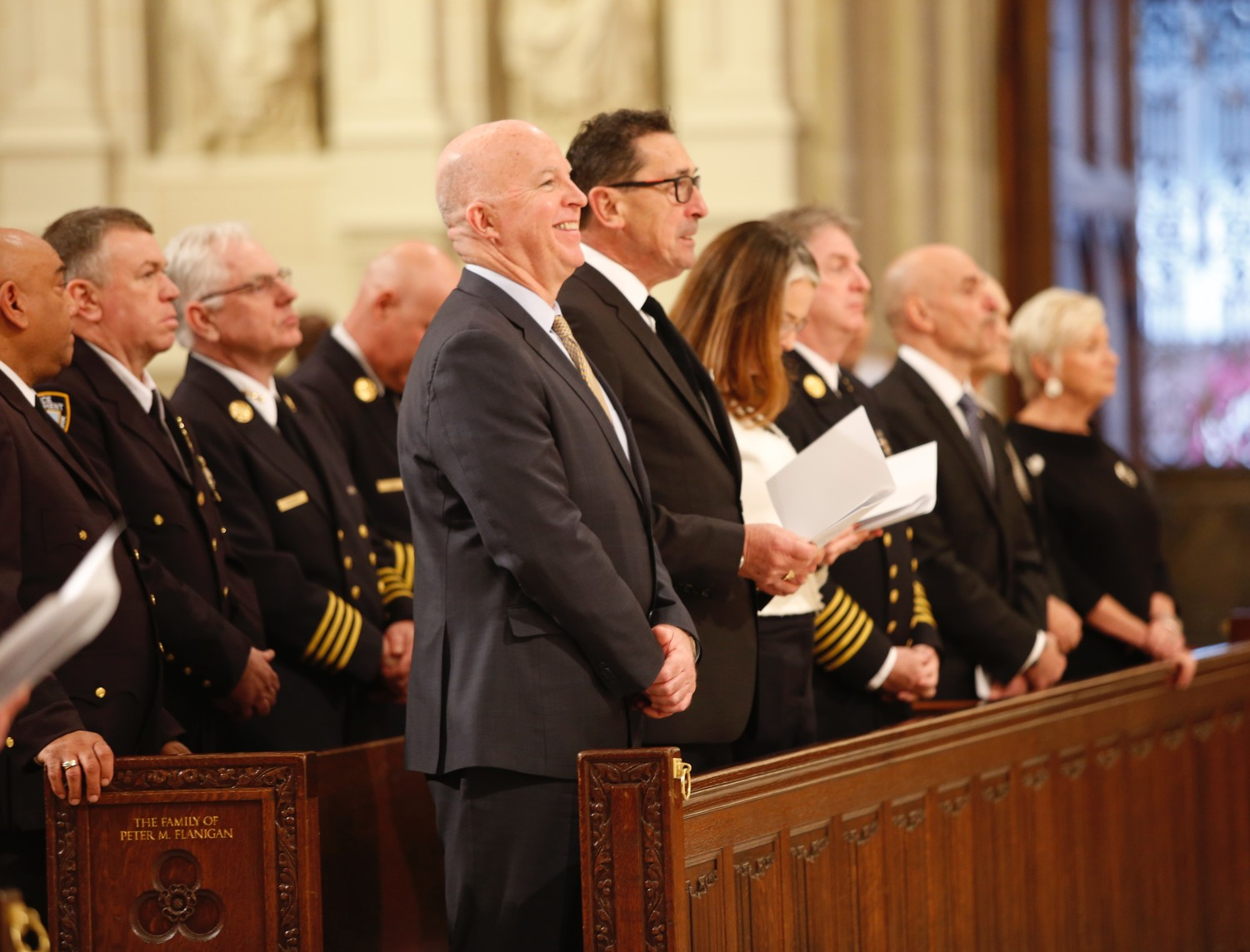 NYPD Commissioner James P. O'Neill and FDNY Commissioner Daniel A. Nigro were joined by members of their departments at the Memorial Mass for Rusty Staub at St. Patrick's Cathedral April 25.