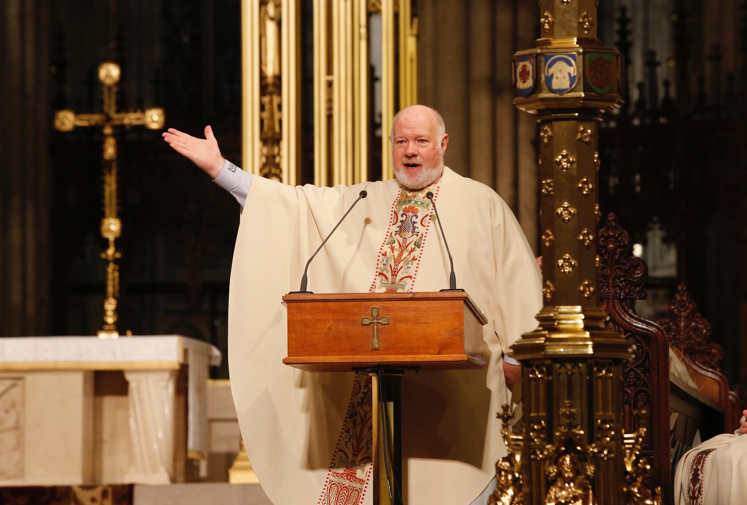 "Msgr. Kevin Sullivan, executive director of archdiocesan Catholic Charities, called Rusty Staub a first-ballot selection in ""God's Hall of Fame"" in his homily at the Memorial Mass in St. Patrick's Cathedral April 25."