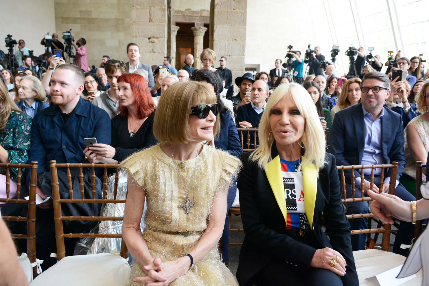 Fashion icons Anna Wintour and Donatella Versace at the press preview.