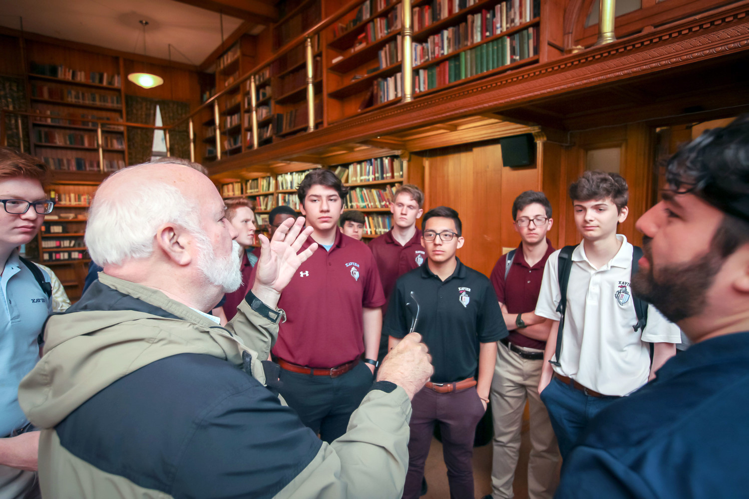 Father Greg Boyle, S.J., speaks to students and staff at Xavier High School in Manhattan May 17.