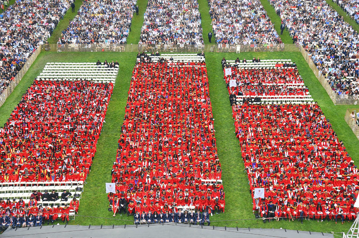 LAWN WAS FULL—More than 14,000 people, including 1,853 graduates, attended the undergraduate ceremony on St. John's University's Great Lawn May 20 at the Queens campus.