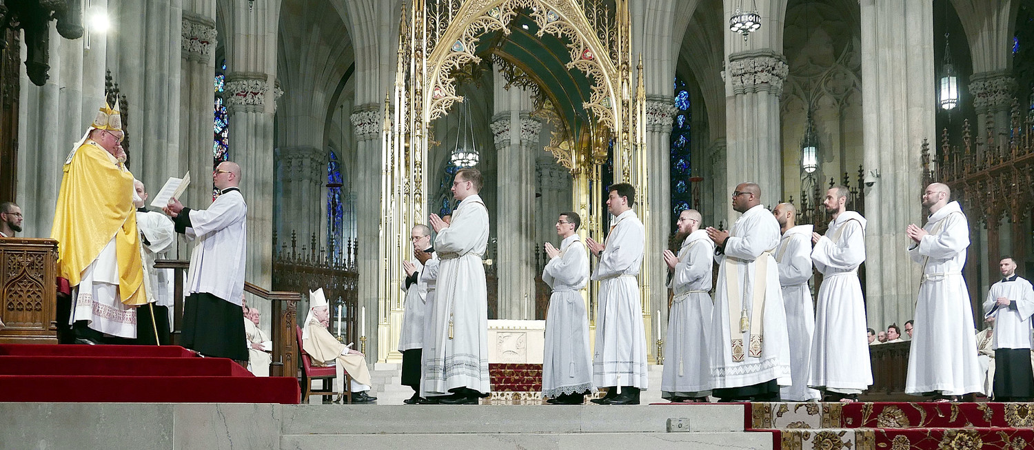 Cardinal Dolan addresses the nine men he was ordaining to the priesthood at a Mass in St. Patrick's Cathedral May 26.