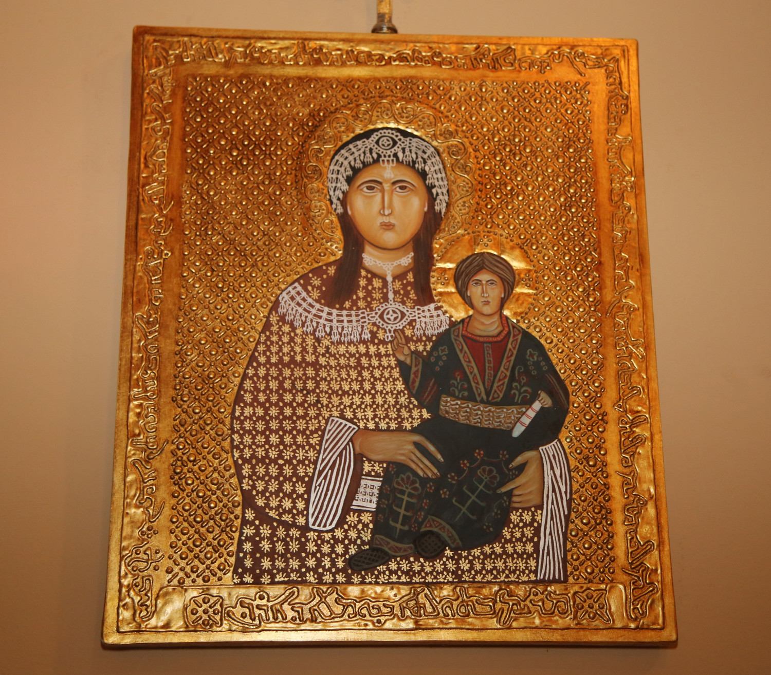 An icon of Our Lady of Aradin graces St. Michael's Church in Manhattan.