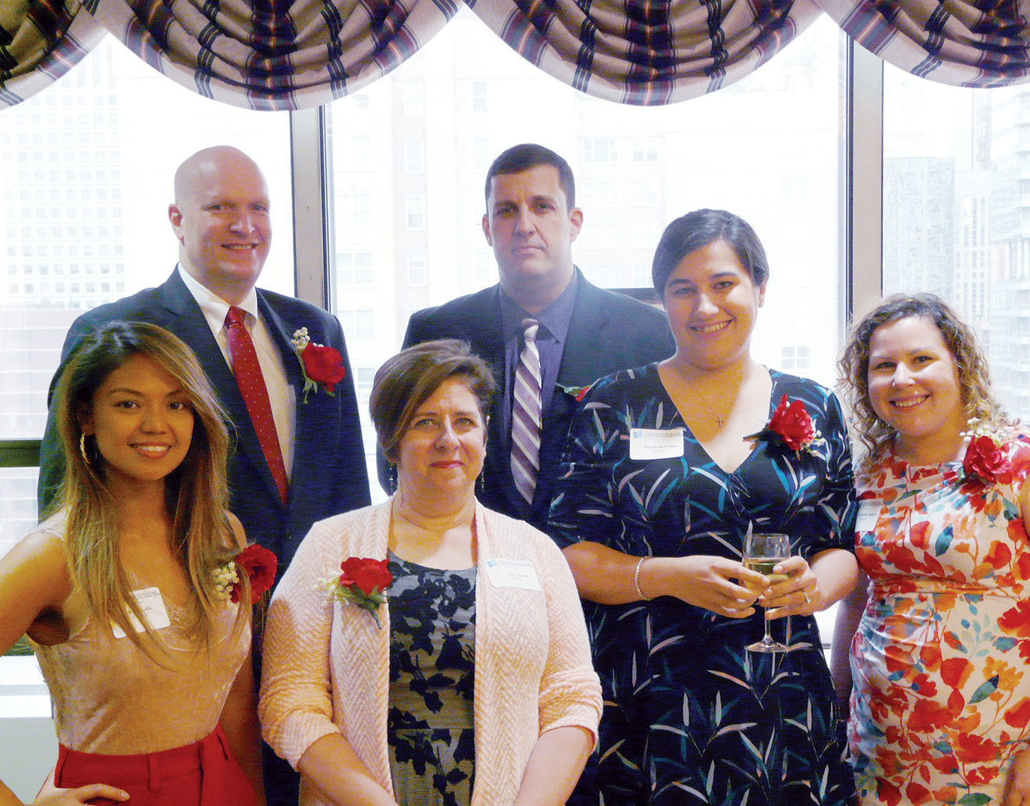 Nine educators were welcomed into Cohort X for the 2018-2019 Curran Catholic School Leadership Academy and six attended the commissioning ceremony at the New York Catholic Center in Manhattan June 20. Front row, from left, are Abigail Lelis, Lori Ziesel, Elizabeth Cafaro and Christina Suarez. Back row, from left, are Brian Donahue and George Eacobacci.