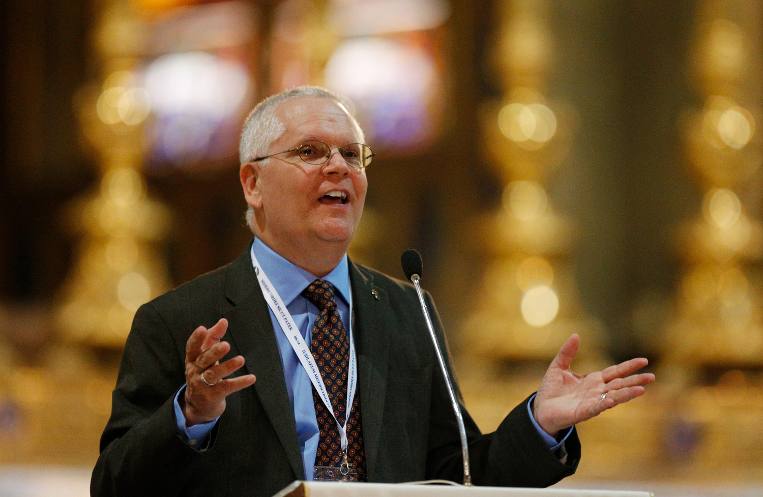 CALLED—Deacon Greg Kandra of the Diocese of Brooklyn speaks in 2016 at a conference for deacons and their wives at the Basilica of Santa Maria Sopra Minerva in Rome. Deacon Kandra had a successful journalism career and was an observant, Mass-going Catholic, but 9/11 changed his life and put him on the path to the diaconate.