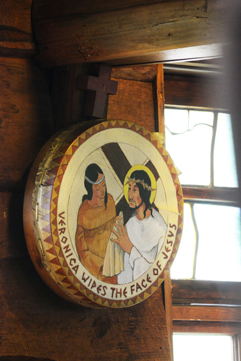 STATION IMAGE—The Stations of the Cross inside the Church of the North American Martyrs, Lake Peekskill, feature tom-toms on which station images are painted.