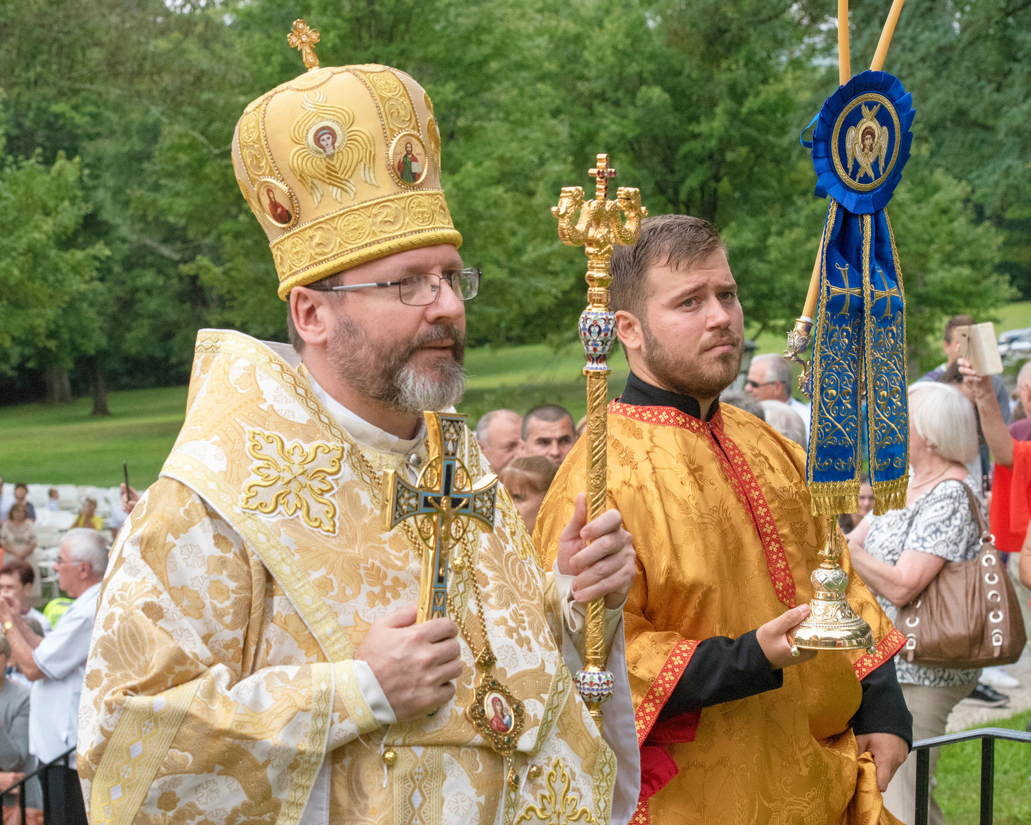 Major Archbishop Sviatoslav Shevchuk, of the Ukrainian Greek Catholic Church approaches the altar during the Divine Liturgy at the 64th Holy Dormition (Assumption) Pilgrimage in Sloatsburg Aug. 12.