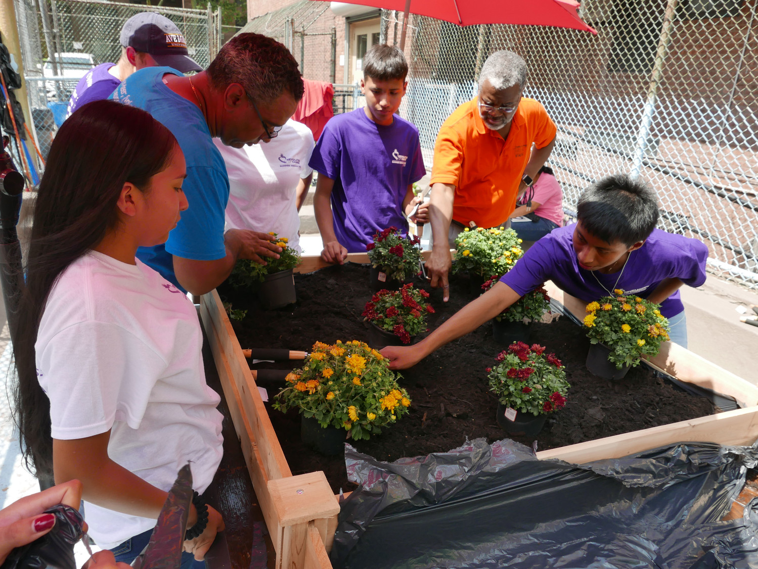 Revolution of Change service project workers plant a garden outside the Catholic Charities Kennedy Center in Harlem Aug. 8. They are, from left, Adriana Mora; Richard Espinal, associate director for parish and community engagement for the Department of Social and Community Development of archdiocesan Catholic Charities; Daniel Genn, associate director of the archdiocesan Office of Youth Ministry (partially obscured, in blue cap); Angel Martinez; Deacon Rodney Beckford, director of the Catholic Charities Kennedy Center; and Miguel Juarez.