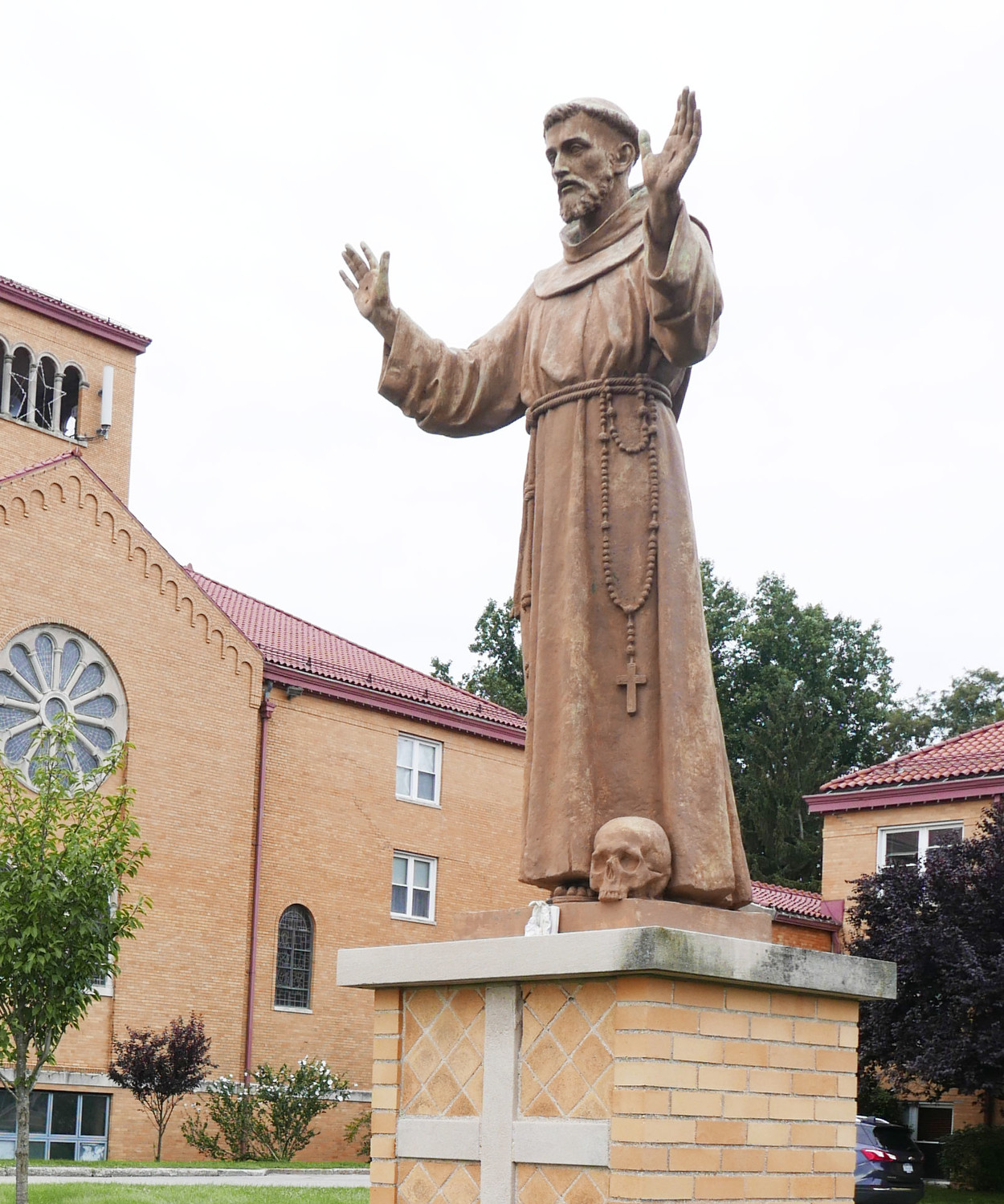 A statue of St. Francis of Assisi is located in a garden that was dedicated in 1992 to mark the golden jubilee of the priesthood of Father Thomas More Nicastro, O.F.M.