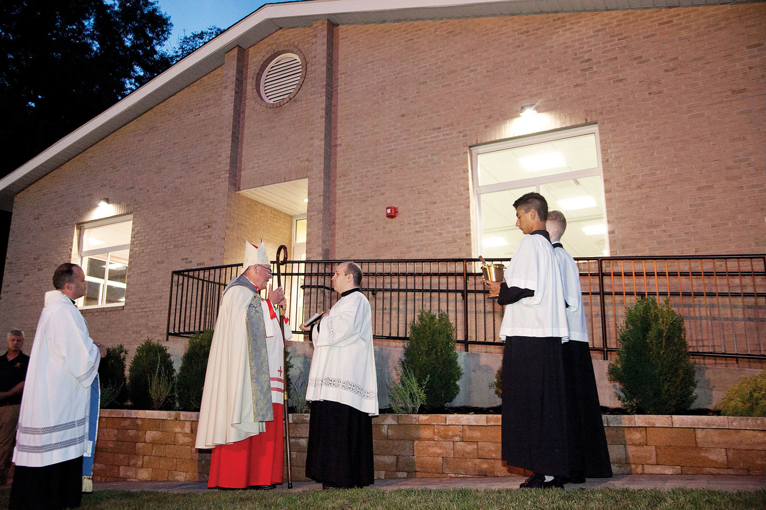 Cardinal Dolan blesses the new St. Mary's parish center in Washingtonville Sept. 7. The 7,000-square-foot center has 10 classrooms for religious education and parish offices.