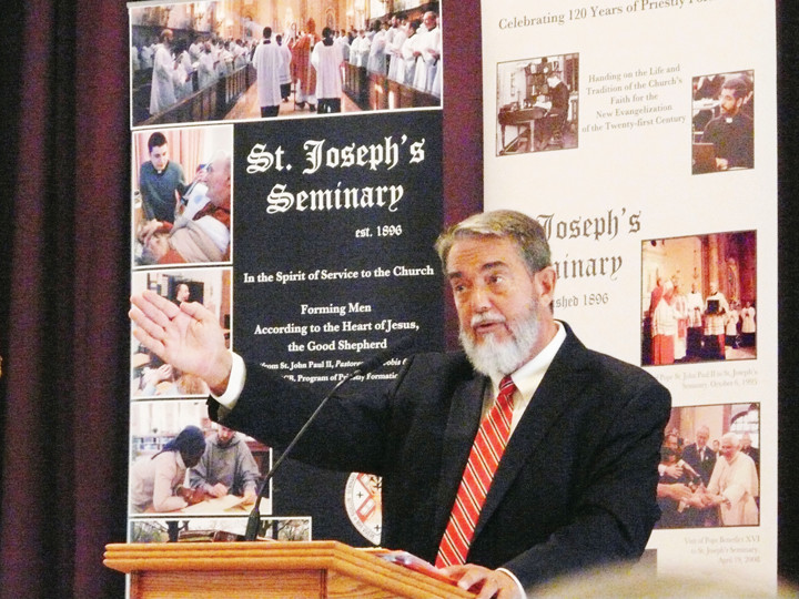 "EVANGELIZATION CENTER—Dr. Scott Hahn speaks during his symposium on ""The New Apologetics for the New Evangelization"" Sept. 8 in the Prayer Hall at St. Joseph's Seminary, Dunwoodie."