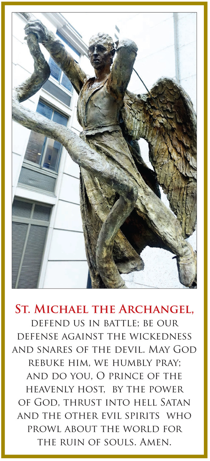 DEFENDER—A bronze sculpture of St. Michael the Archangel stands atop the steps outside St. Peter's Church on Barclay Street in lower Manhattan.