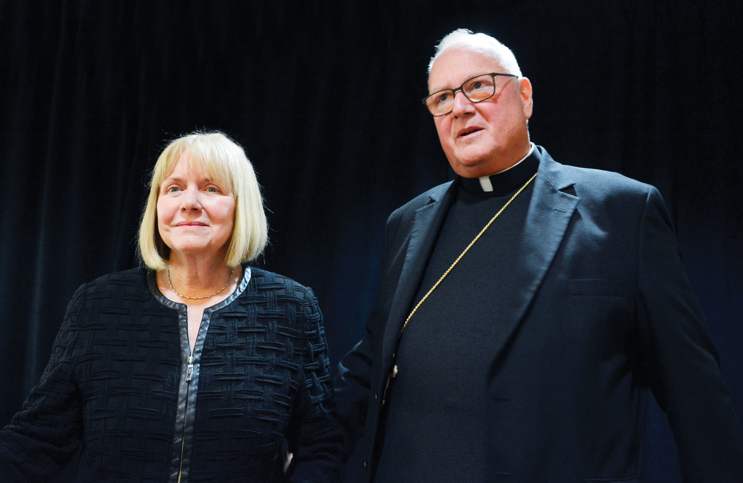 ACCOUNTABILITY—Barbara Jones, a former federal judge, and Cardinal Dolan address the media Sept. 20 at the New York Catholic Center in Manhattan. The cardinal called a press conference to announce the appointment of Ms. Jones as the archdiocese's special counsel and independent reviewer.
