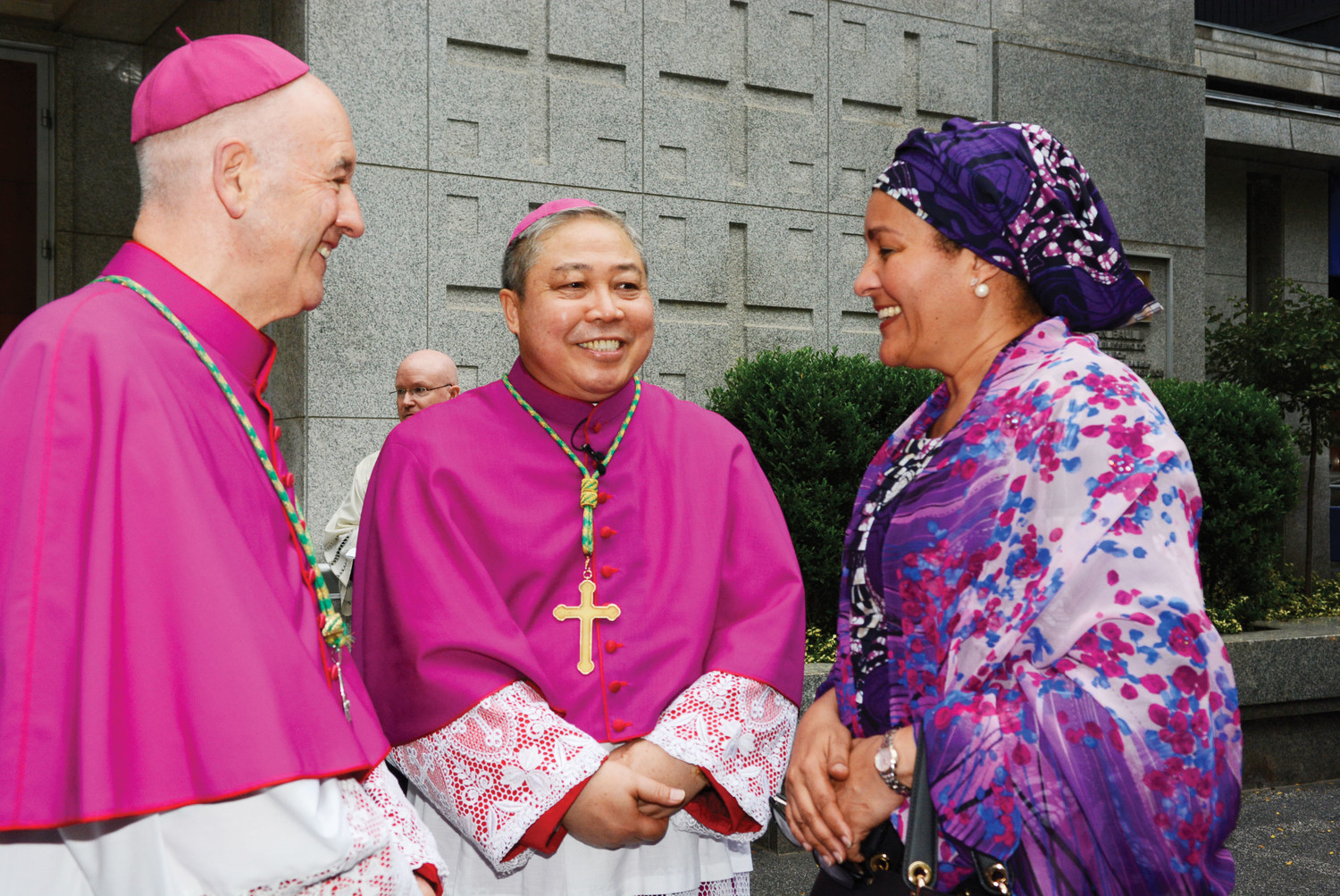 rchbishop Luis Castro Quiroga of Tunja, Colombia, far left, and Archbishop Bernardito Auza, apostolic nuncio of the Holy See to the United Nations, talk with Amina J. Mohammed, current Deputy Secretary-General of the United Nations and a former Minister of Environment of Nigeria, before the Prayer Service on the Vigil of the Opening of the 73rd Session of the United Nations General Assembly Sept. 17 at Holy Family Church in Manhattan.