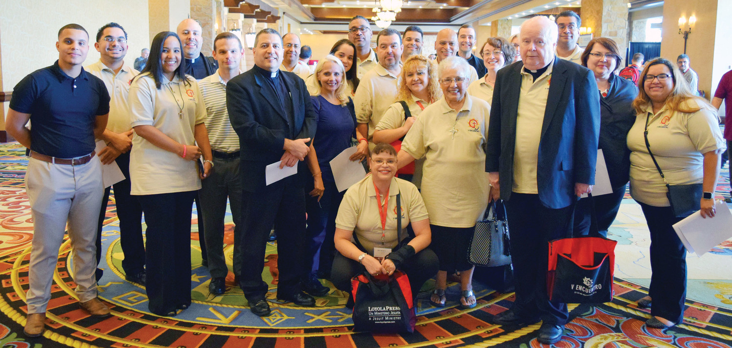 The Archdiocese of New York sent 33 delegates to the V National Encuentro Sept. 20-23 in Grapevine, Texas. Many of the delegates came together for a group photo at the Gaylord Texan Resort and Convention Center. Kneeling at center is Wanda Vasquez, director of the archdiocesan Office of Hispanic Ministry. She is chairwoman of Region 2 Encuentro (New York state).