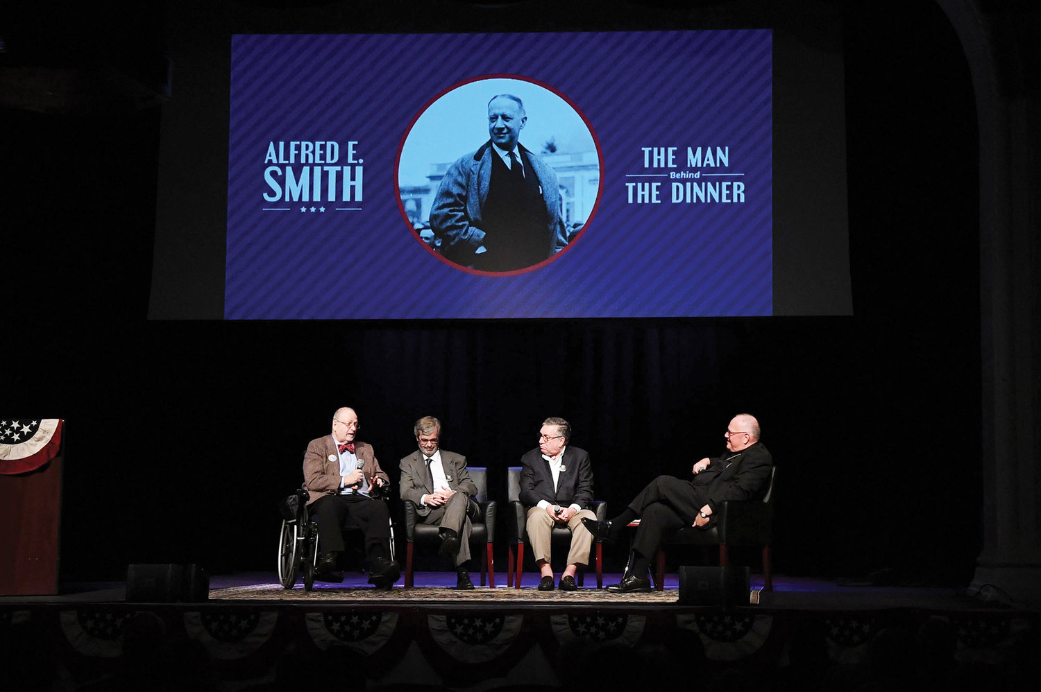 "From the left: Robert Slayton, author and professor; Terry Golway, senior editor of ""Politico"" and author; Alfred E. Smith IV, great-grandson of Alfred E. Smith; and Cardinal Dolan during the panel discussion for ""Alfred E. Smith: The Man Behind the Dinner"" at the Sheen Center for Thought & Culture in Manhattan Oct. 1."