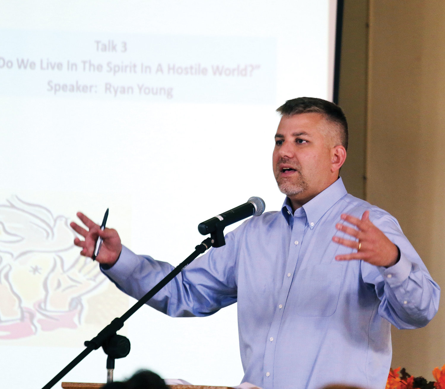 "Ryan Young, director of Camp Veritas, delivers his afternoon talk on ""How Do We Live in the Spirit In a Hostile World?"""