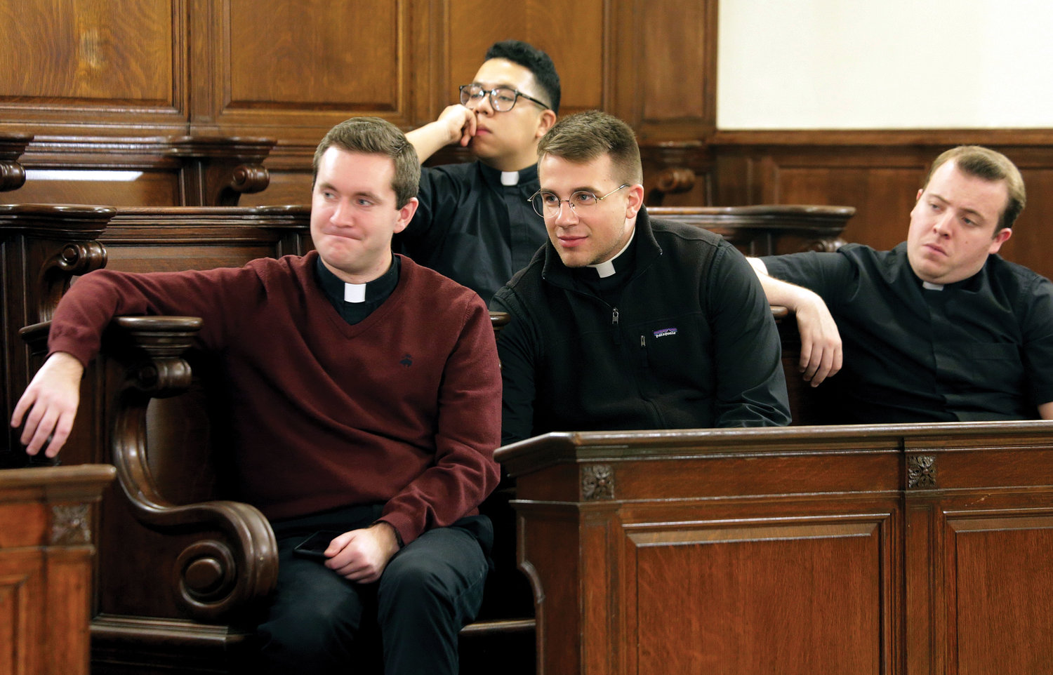 First row, from left, are John Crozier, Diocese of Rockville Centre; Colin Lomnitzer, Diocese of Bridgeport; and Paul Clores, Diocese of Rockville Centre. In the back row is Anthony Barranco, Archdiocese of New York.