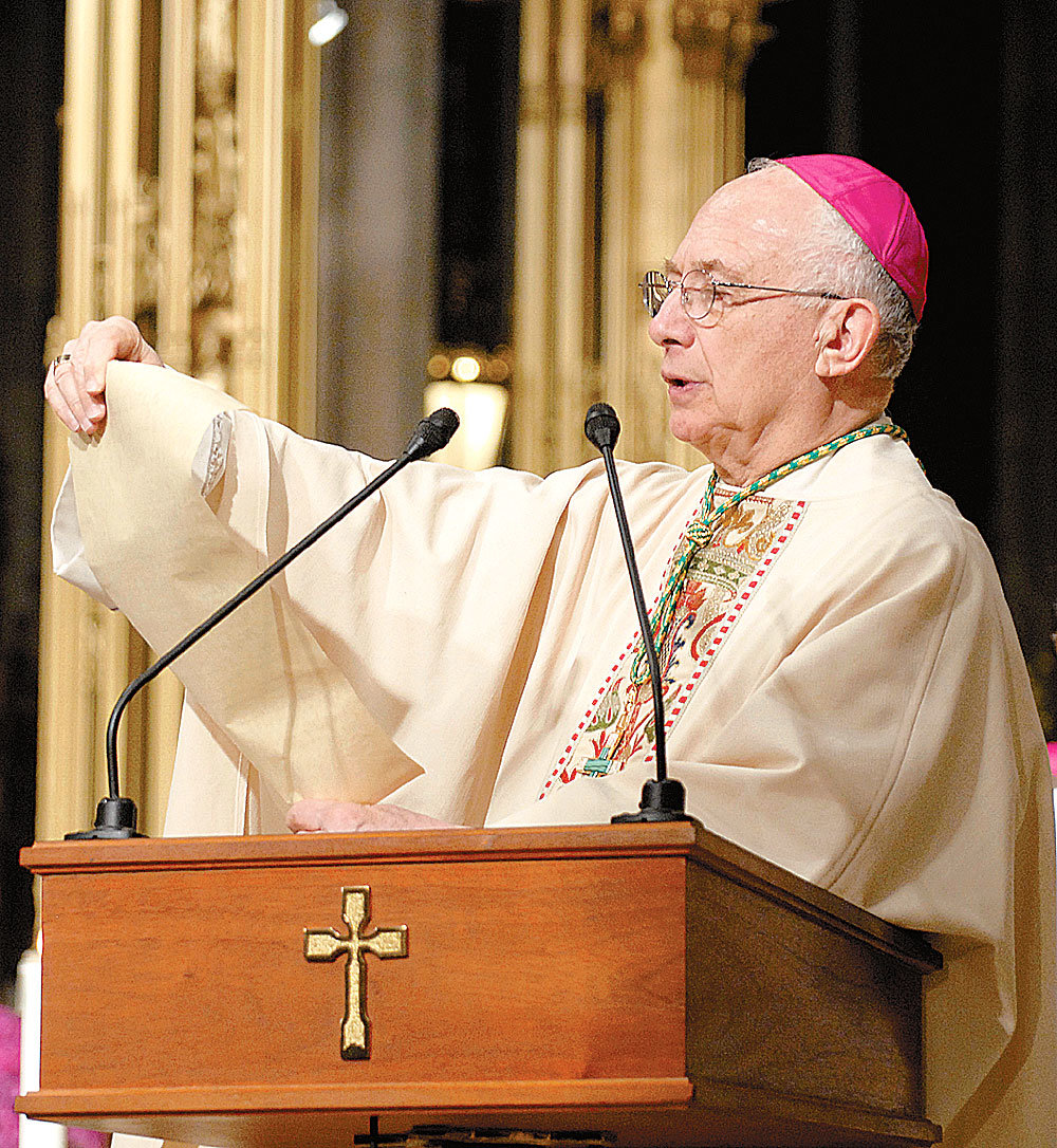 At a Mass in April 2007 opening the archdiocese's Bicentennial Year, Bishop Brucato reads a proclamation.