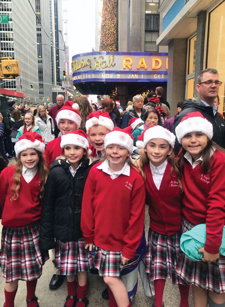 The choir from St. Gregory Barbarigo School in Garnerville was at Radio City Music Hall to sing before the first 2018 Christmas Spectacular show Nov. 9.