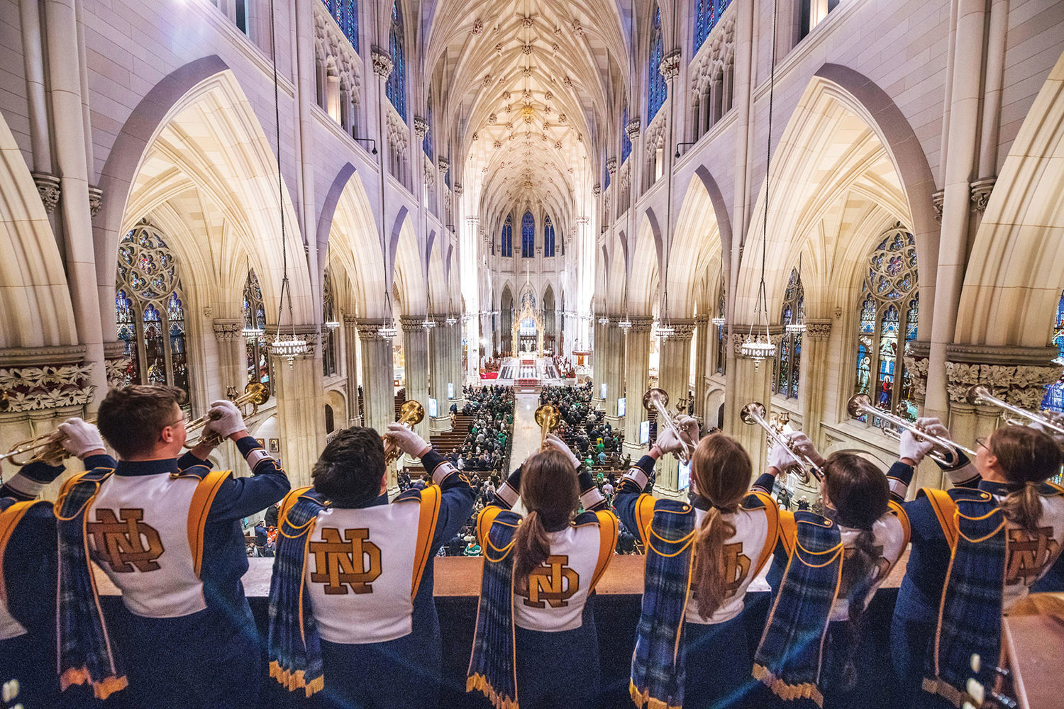 The Notre Dame marching band trumpeters play the Alma Mater after the Shamrock Series Mass at St. Patrick's Cathedral Nov. 17.