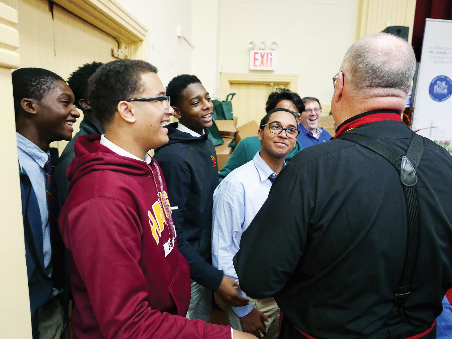 Cardinal Dolan was there to greet people and distribute turkeys.