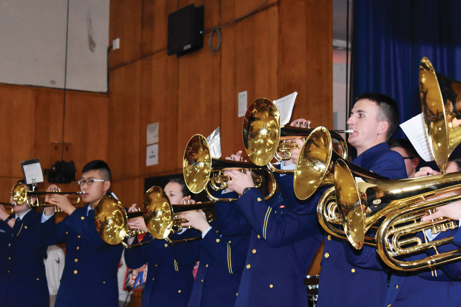 The U.S. Coast Guard Academy and Windjammers Drum and Bugle Corps perform.