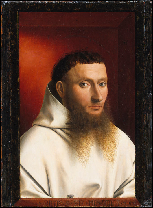 Petrus Christus, Portrait of a Carthusian Lay Brother, 1446. Oil on panel, 11 1/2 x 8 1/2 inches. The Metropolitan Museum of Art, The Jules Bache Collection. On loan from the Met to help bring into focus the vibrant artistic patronage in 15th-century Bruges, this piece blends its religious theme with a secular style of portraiture.