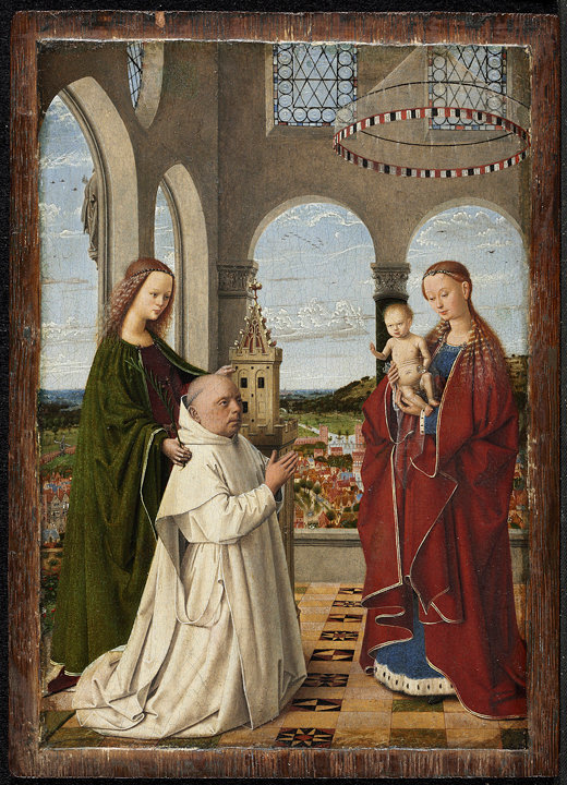 Petrus Christus, The Virgin and Child With St. Barbara and Jan Vos (Exeter Virgin), ca. 1450. Oil on panel, 7 5/8 x 5 1/2 inches. Staaliche Museen zu Berlin.