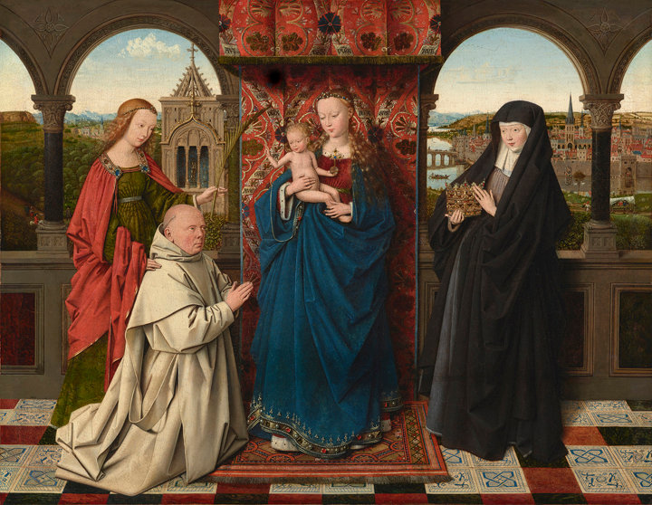 AT THE FRICK—Jan van Eyck and workshop, The Virgin and Child With St. Barbara, St. Elizabeth, and Jan Vos (Frick Virgin), ca. 1441-43. Oil on Masonite, transferred from panel, 18 5/8 x 24 1/8 inches. The Frick Collection.