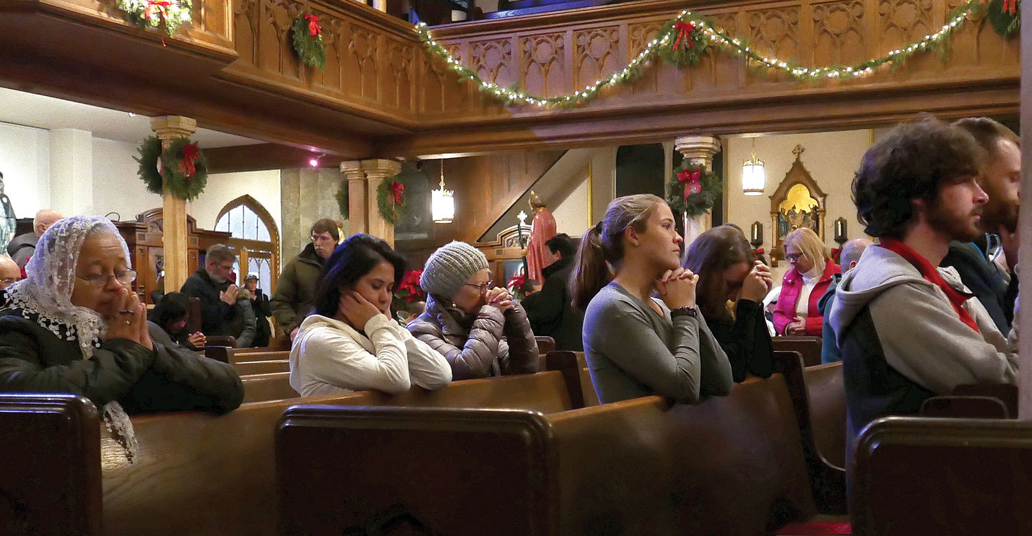Worshipers participated in a pro-life Mass and Eucharistic Adoration at the shrine and parish church of Holy Innocents on West 37th Street