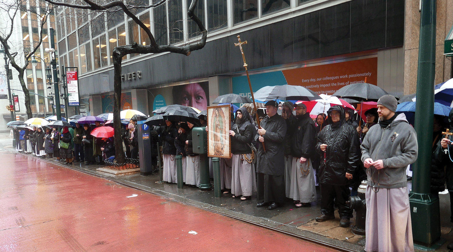 Advocates for life pray the Rosary near an abortion clinic in Midtown Manhattan Dec. 28, feast of the Holy Innocents.