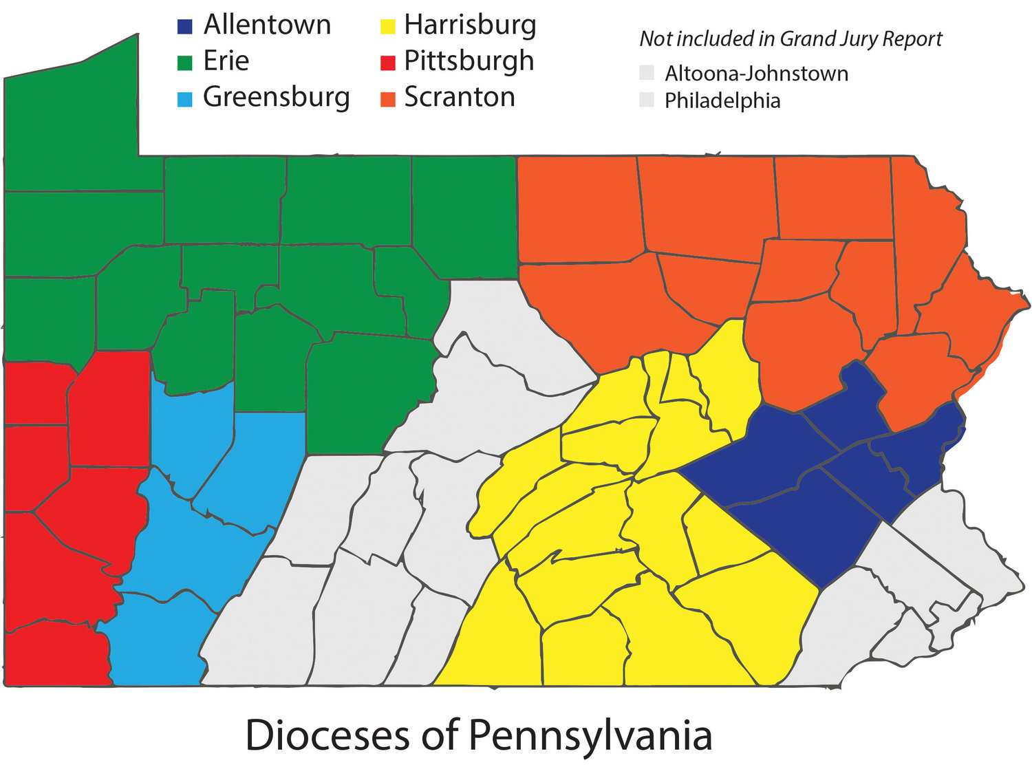 The map of Pennsylvania shows the six Catholic dioceses covered by a grand jury report on an investigation of abuse claims made in those dioceses. The report covers a span of more than 70 years. Former New York Times religion reporter Peter Steinfels, writing in Commonweal magazine, challenges one of the report's two main charges.