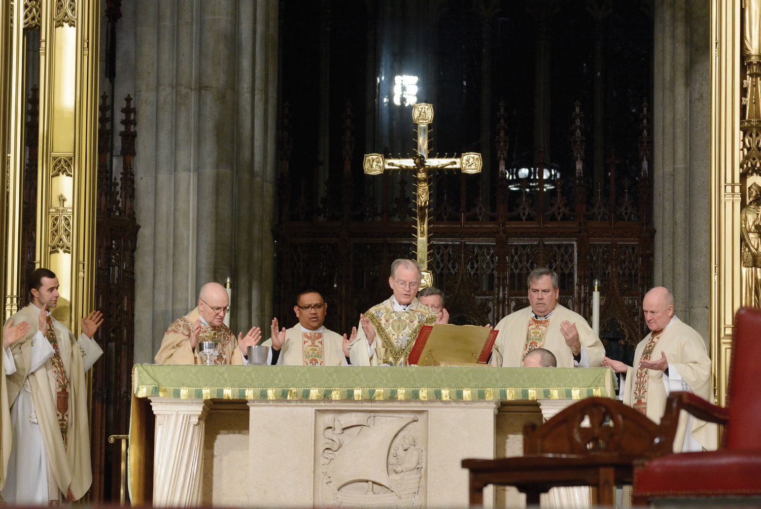 Auxiliary Bishop Peter Byrne offers an evening Mass at St. Patrick's Cathedral Jan. 22. A Holy Hour preceded the liturgy, part of the Prayer Vigil for Life sponsored by the archdiocesan Respect Life Office.