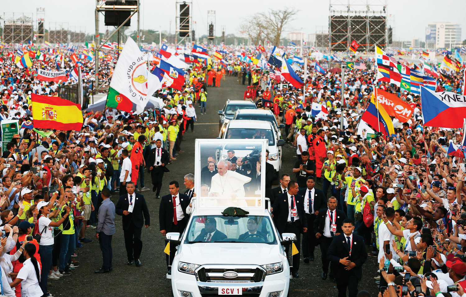 Pope Francis arrives amid people and flags Jan. 25 for the vigil service of World Youth Day in Panama.