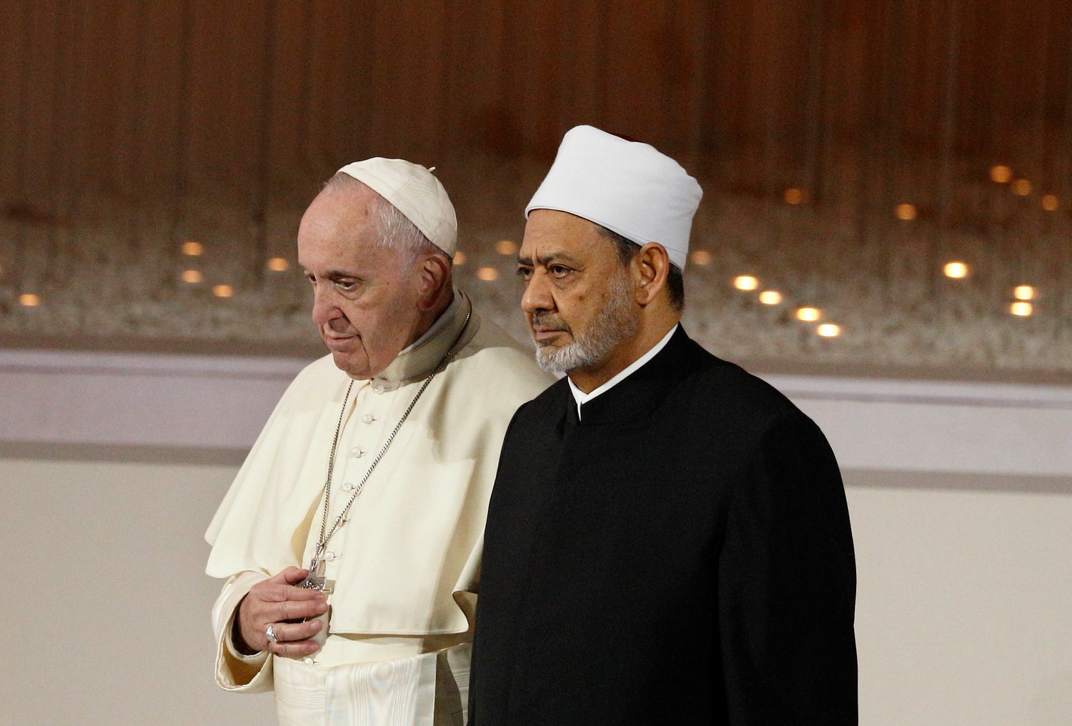 Pope Francis and Sheik Ahmad el-Tayeb, grand imam of Egypt's al-Azhar mosque and university, leave an interreligious meeting at the Founder's Memorial in Abu Dhabi, United Arab Emirates, Feb. 4.