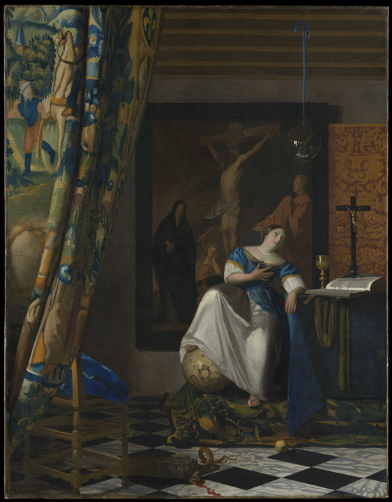 "AT THE MET—Johannes Vermeer (Dutch, 1632–1675). ""Allegory of the Catholic Faith,"" ca. 1670–72. Oil on canvas. 45 x 35 in. The Metropolitan Museum of Art, New York, The Friedsam Collection, Bequest of Michael Friedsam, 1931. The painting is a permanent part of the museum's collection and is on display in its exhibit ""In Praise of Painting: Dutch Masterpieces at the Met."""