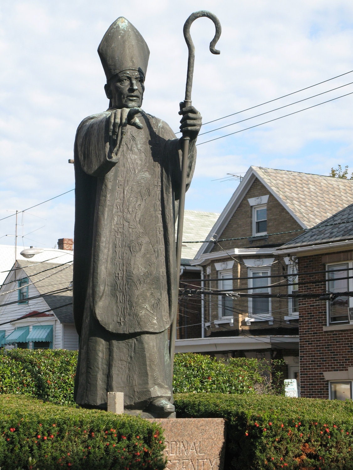 HEROIC VIRTUE—A statue of Cardinal Jozsef Mindszenty of Hungary is seen in a garden outside St. Ladislaus Church in New Brunswick, N.J., in 2009. Pope Francis signed a decree Feb. 12 advancing the sainthood cause of Cardianl Mindszenty, who had been jailed and exiled by the communists.