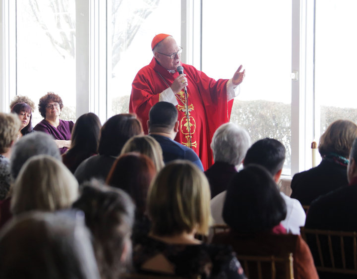 TEACHING CATECHISTS—Cardinal Dolan preaches his homily at a Mass he offered Feb. 23 at The Riverview in Hastings-on-Hudson during an annual Communion breakfast for the catechists of the archdiocese. The day also marked the 10th anniversary of the cardinal's appointment as Archbishop of New York.