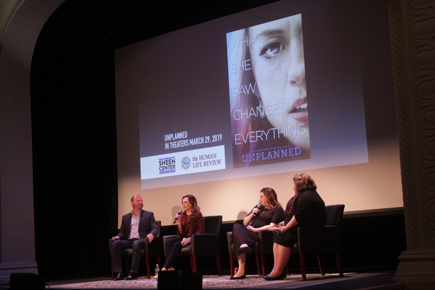 "AFFIRMING LIFE—A panel discussion follows the screening of the pro-life movie ""Unplanned"" Feb. 21 at the Sheen Center for Thought and Culture in lower Manhattan. From left: Chris Jones, producer; actress Ashley Bratcher; Abby Johnson, founder and director of And Then There Were None, and panel moderator Kathryn Jean Lopez, senior fellow at the National Review Institute and an editor-at-large of National Review."