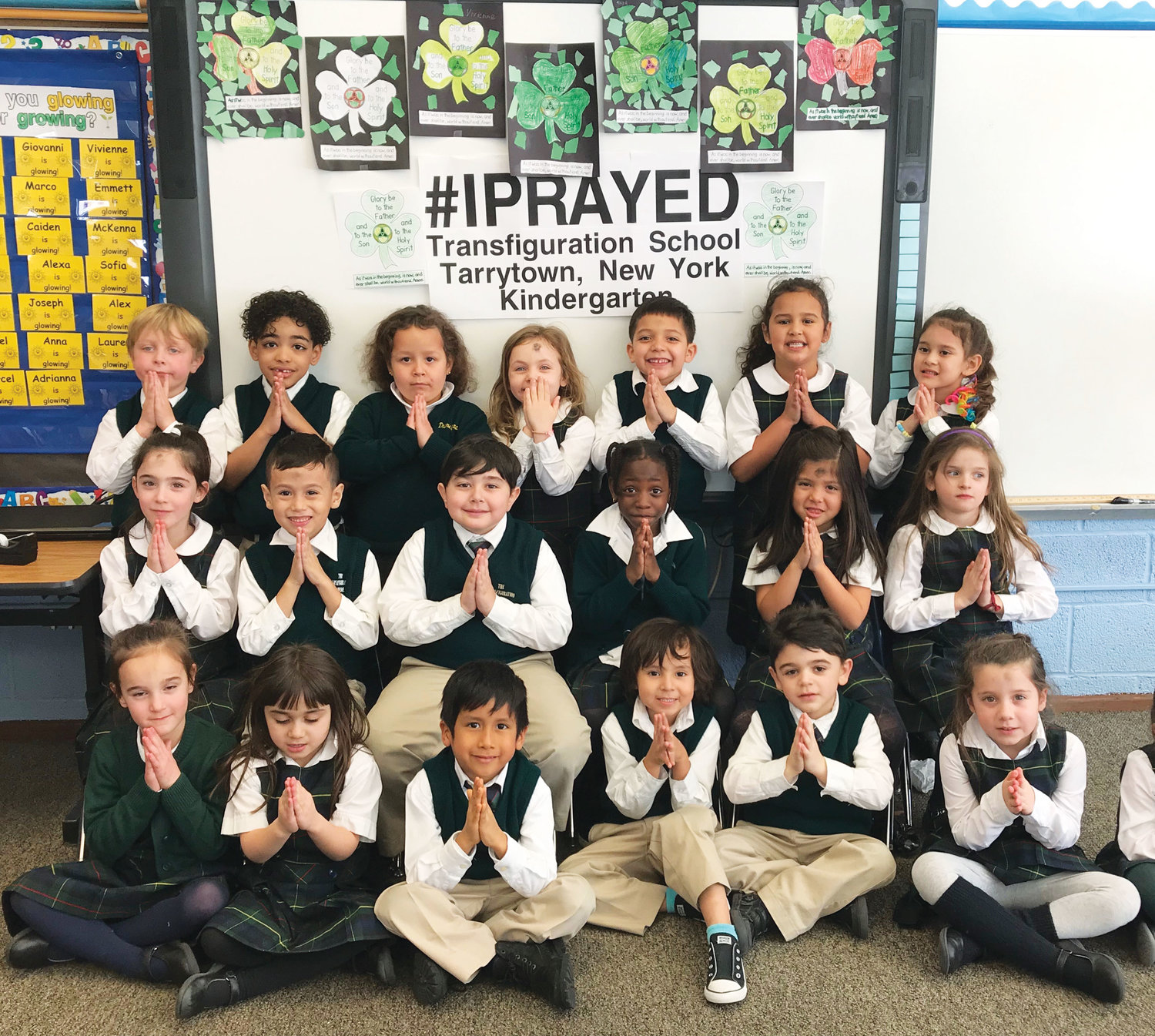 #IPRAYED—The kindergarten students in teacher Deborah McVey's class at Transfiguration School in Tarrytown fold their hands in prayer on Ash Wednesday, March 6.
